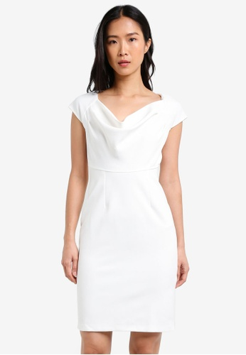 CLOSET white Cowl Neck Back Button Detail Pencil Dress CL919AA0S6GAMY_1