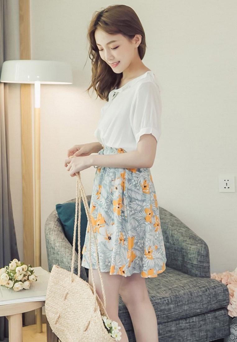 Printed Eyescream Faux Piece Dress Multi 2 8w8rAxqB