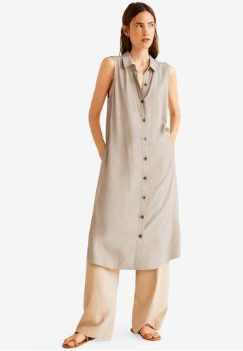 Mango beige Side Slit Long Dress 4BB21AA7A218DDGS_1