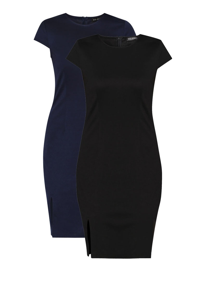 Basic Pack Bodycon Black Navy Dress Slit ZALORA Front 2 5ax4PqwFq