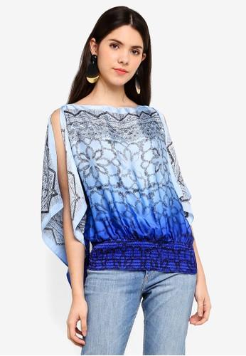 Max Studio blue Kimono Sleeve Blouse 779DBAAB970D4AGS_1