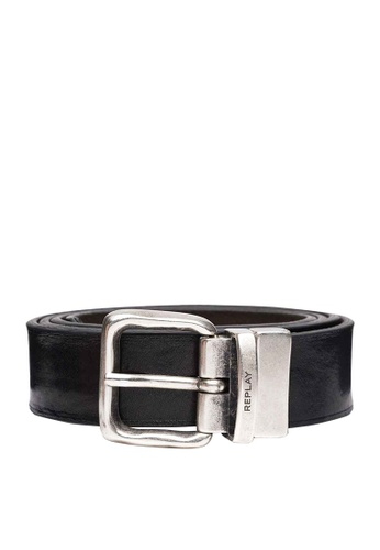 REPLAY black and brown REPLAY REVERSIBLE BELT IN LEATHER AND SUEDE 82AEDAC7F27067GS_1