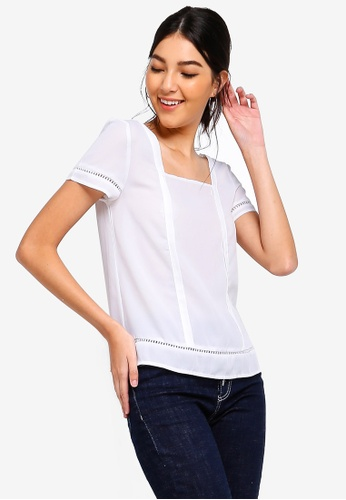 ZALORA white Square Neck Trim Top CE64FAA370E243GS_1