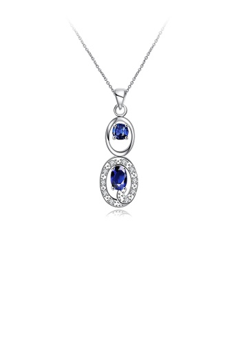Glamorousky blue Simple and Fashion Geometric Hollow Oval Pendant with Blue Cubic Zircon and Necklace F57E2AC5B7A68CGS_1