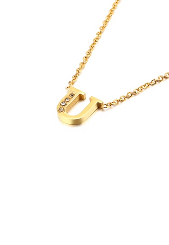 Glamorousky 白色 時尚個性鍍金色英文字母U 316L鋼吊墜配鋯石及項鏈 FAB52ACBB26FF8GS_1