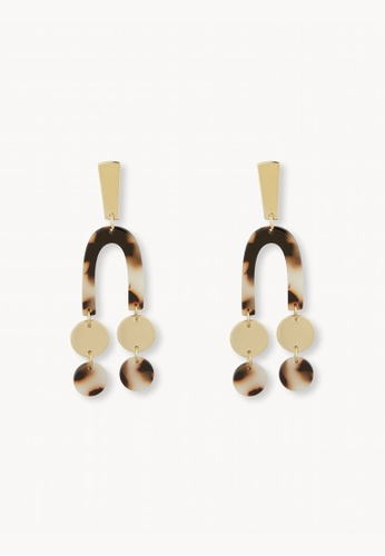 Pomelo brown Marbled U Double Drop Earrings - Brown 6EE40AC81D18A0GS_1