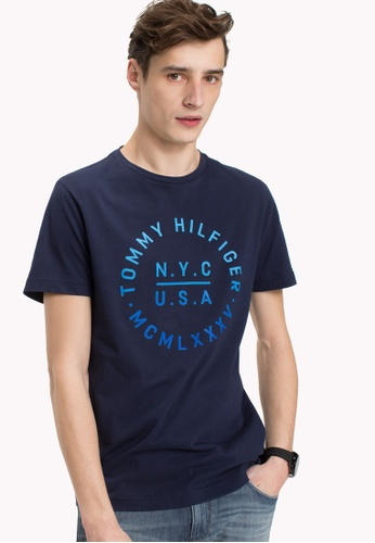 Tommy Hilfiger blue GRADIENT GRAPHIC TEE F00A4AAD395A39GS_1