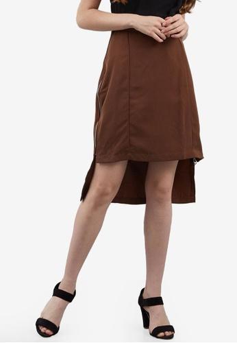 Berrybenka brown Eldo Zipper Skirt AF509AA300AA26GS_1
