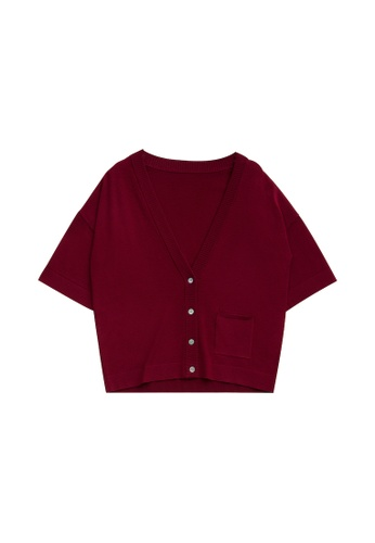 KLAPS red Merino Cardigan with Front Pocket D13AEAACFED82EGS_1
