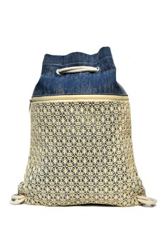 Alex Big Blue Denim Net Drawstring Bag