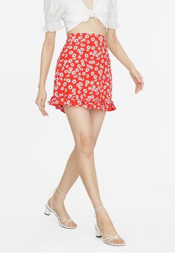 Pomelo red Mini Daisy Print Frill Hem Skirt - Red 9227CAAE5CAFF7GS_1