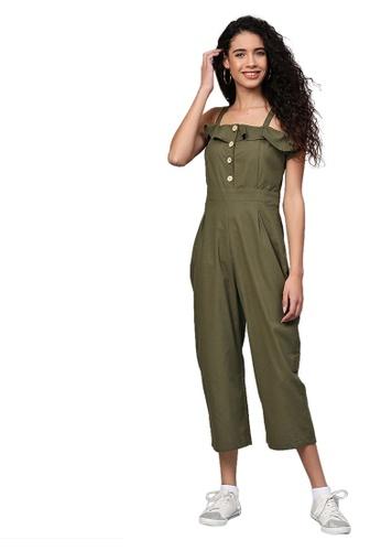 SASSAFRAS green Olive Strappy Button Detail Jumpsuit FC8FDAAF45E971GS_1