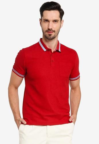 G2000 red Bold Stripe Collar Polo Shirt B7019AA8F91783GS_1