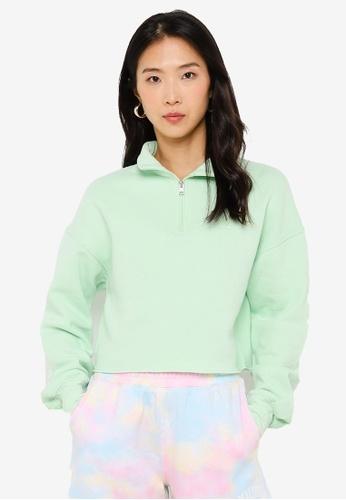 Hollister green Icon Cropped Sweatshirt F4D47AADB48C04GS_1