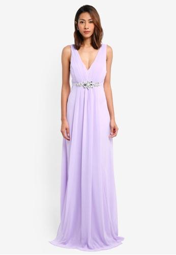 Goddiva purple V Neck Embellished Maxi Dress 99586AA6FDA7A2GS_1
