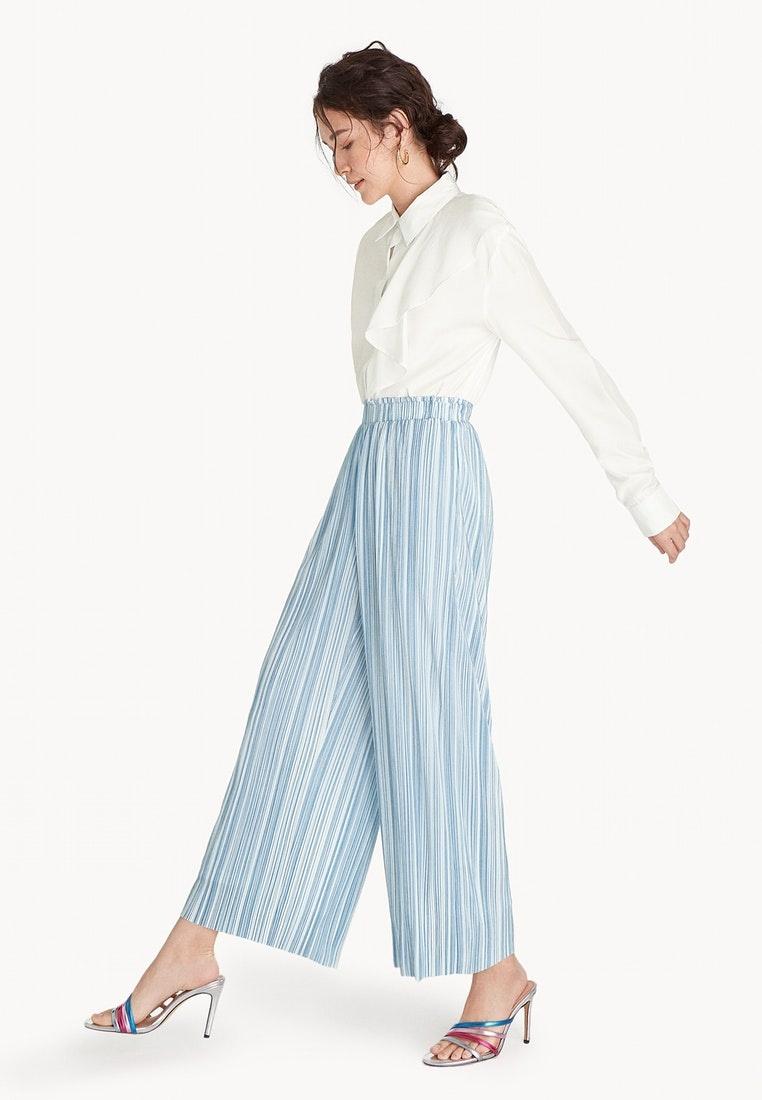Blue Pleat Pomelo Blue Leg Pants Striped Wide Cw1POtq
