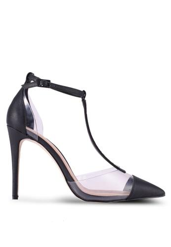 Call It Spring black Galocia Pointed Toe T-Strap Heels 8B0B3SHDE6ED59GS_1