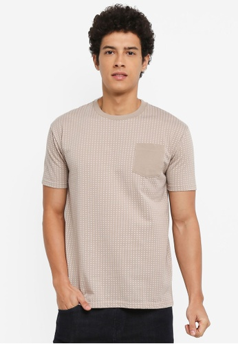 Penshoppe 米褐色 寬鬆口袋T恤 223F5AAFF82756GS_1