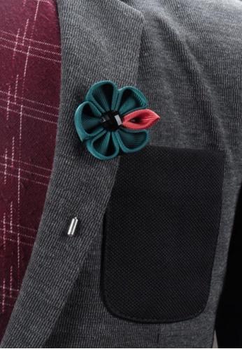 de530f1d9fa Buy Splice Cufflinks Turquoise Fabric Flower Lapel Pin Online on ZALORA  Singapore