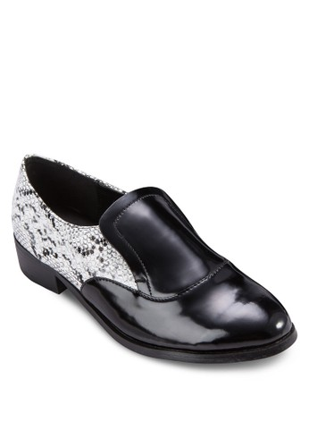 動物紋拼接zalora 包包評價漆皮樂福鞋, 女鞋, 鞋