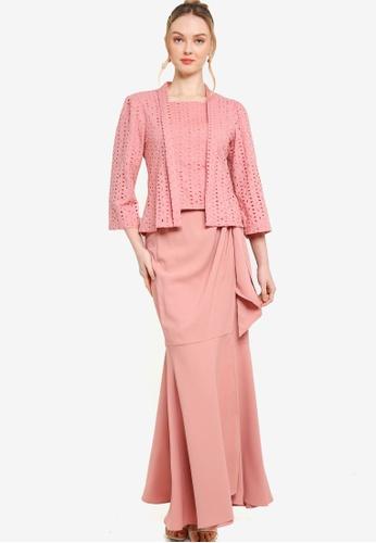 Lubna pink Puff Sleeve Kebaya With Wrap Skirt Set 1F488AAE7E1134GS_1