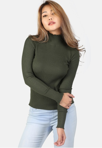 London Rag green Turtleneck Solid Sweater 7327CAA3800540GS_1