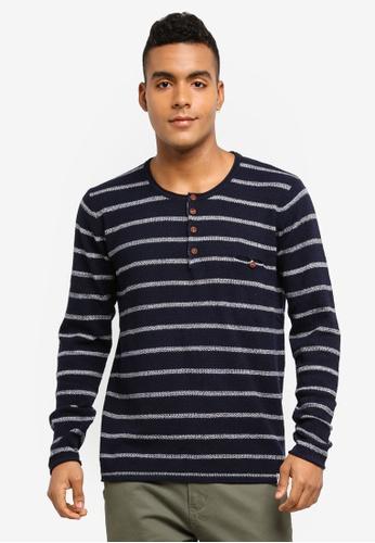 Indicode Jeans 海軍藍色 條紋長袖棉T 2CD02AA4886716GS_1