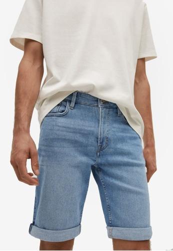 MANGO Man blue Medium-Wash Denim Shorts 322E3AA17CD9D1GS_1