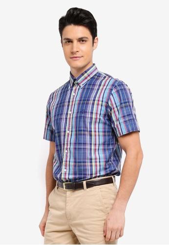 Brooks Brothers multi Red Fleece Indigo Broadcloth Yarndyes Multi Plaid Shirt 26C5AAA705378FGS_1