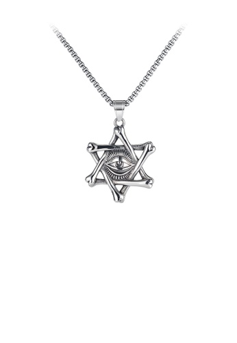 Glamorousky silver Fashion Personality Six-pointed Star Magic Eye 316L Stainless Steel Pendant with Necklace 0D296AC777574AGS_1