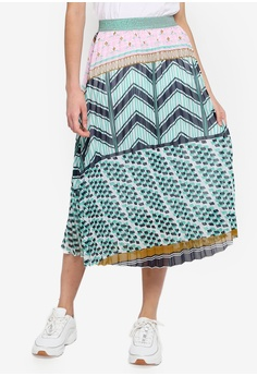 30c14fe5a5 Cotton On pink and green and multi Woven Daria Pleated Midi Skirt  EEBECAAD44F6E1GS 1
