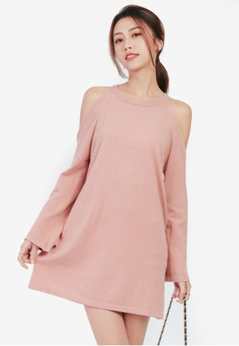 Yoco pink Cold Shoulder Knit Dress E6F0AAAF4C33A6GS_1