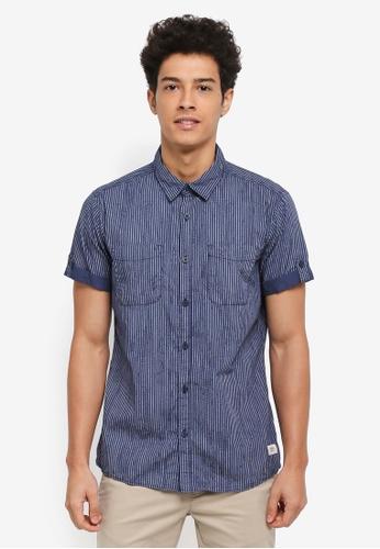 ESPRIT navy Woven Short Sleeve Shirt 3E420AAFA917FFGS_1