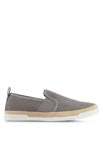 River Island grey Espadrille Trim Slip On Plimsolls 49EE4SHE8004AAGS_1