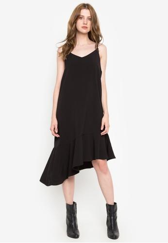 Susto The Label black Malia Ruffle Hem Slip Dress 3833EAA9EAAEAAGS_1