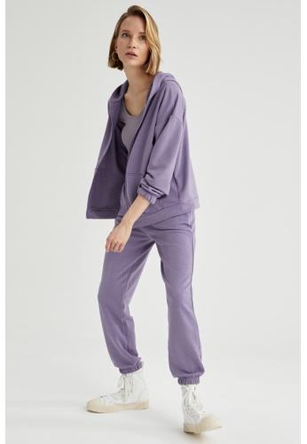 DeFacto purple Long Sleeve Full-Zip Hoodie 4AD42AA43198A5GS_1