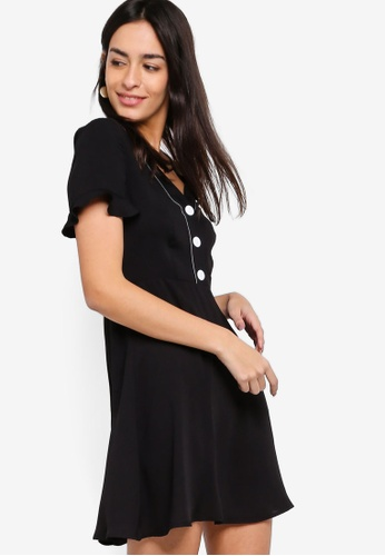 ZALORA black Button Down Fit And Flare Dress 70BFAAA3399600GS_1