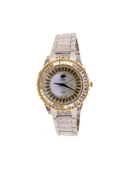 Japan Design Crystal Star Dial Two Tone 18K and Rhodium Plating with Crystal Band Watch