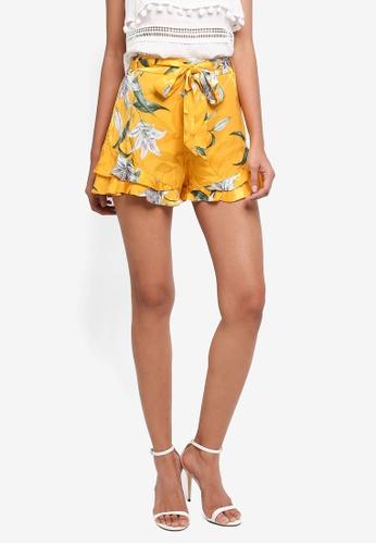 River Island yellow Frill Hem Floral Shorts F6533AA9720233GS_1