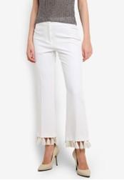 TOPSHOP white Tassel Hem Kick Flare Trousers TO412AA0RFTKMY_1