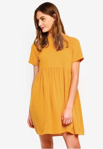 ZALORA BASICS yellow Basic Babydoll Dress 7173FAAB286276GS_1