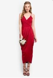 ZALORA red Bridesmaid Wrapped Cami Maxi Dress 0CF81AADBD5543GS_1