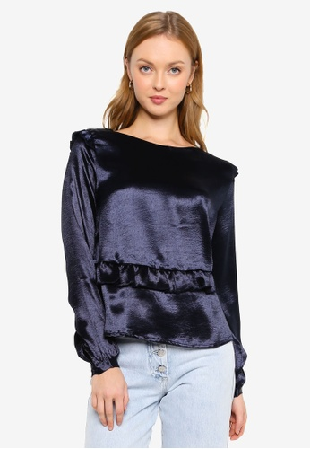 Brave Soul navy Crushed Satin Frill Blouse 9A54CAAE44973DGS_1