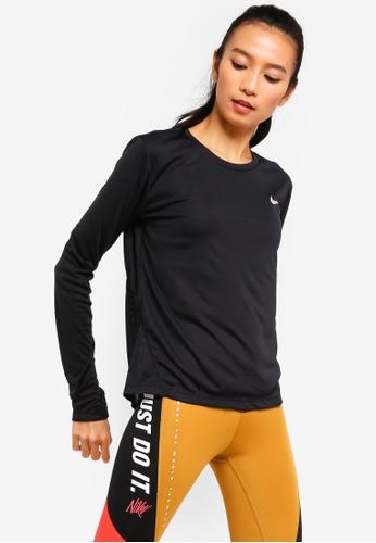 Nike black AS Women's Miler Long-Sleeve Running Top 465D9AA0176A76GS_1