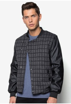 XM-Checkered Quilted Bomber With PU Sleeve