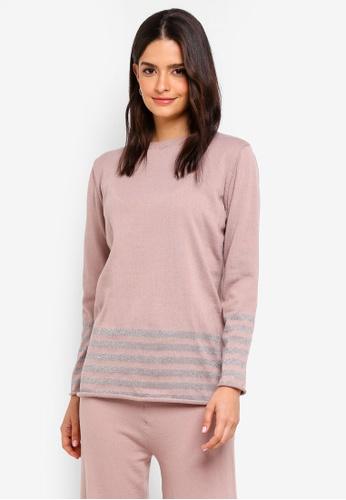 Zalia pink Metallic Stripes Knitted Sweater 091F4AAD52EB75GS_1