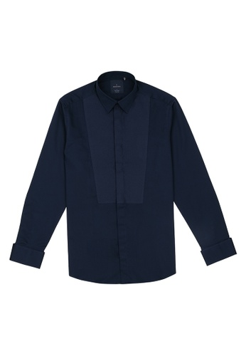 Benjamin Barker navy Kashuku Easy Iron Navy Tux Shirt DEAE0AA3B1DC1AGS_1
