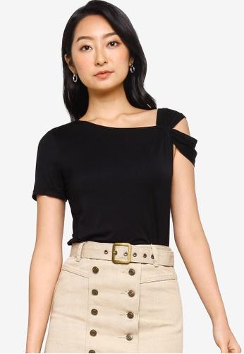 ZALORA BASICS 黑色 Twist Sleeve T-Shirt BC6A2AAB77D2D5GS_1