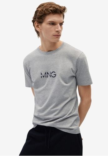 MANGO Man grey Logo Organic Cotton T-Shirt 7791CAAF975951GS_1