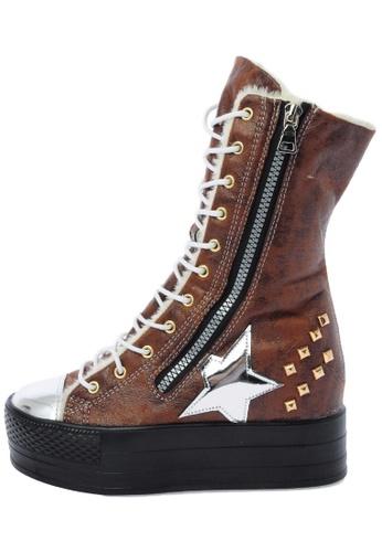 Maxstar C50 568 Inside Fur Synthetic Leather Studed Black Plarform Half-Long Boots US Women Size MA168SH30DJTHK_1